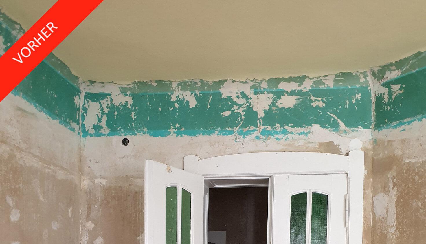 Vorher Bild von Wand in steglitzer Altbauwohnung