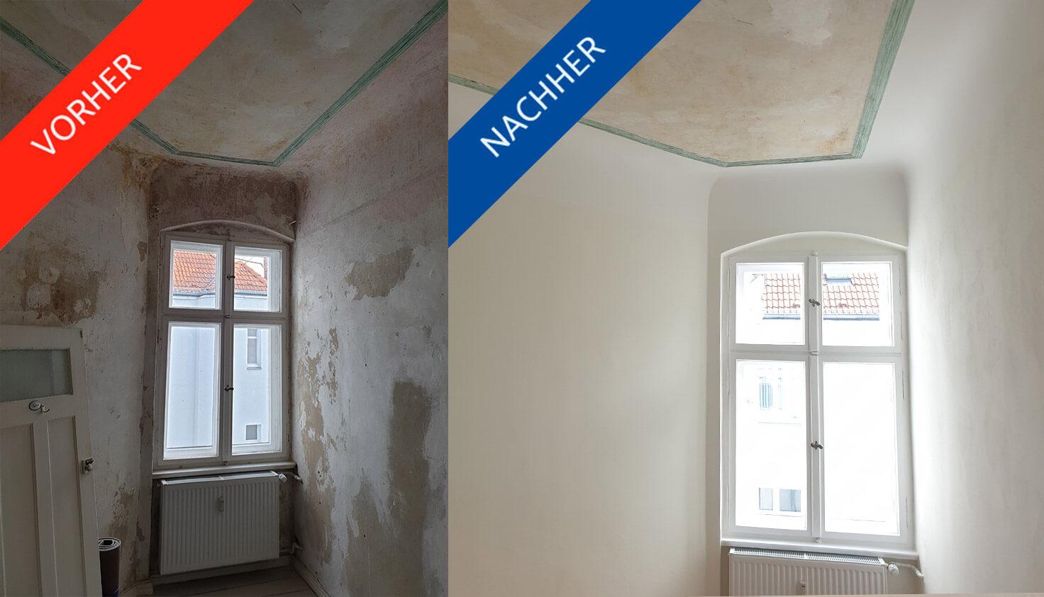 Vorher/nachher Vergleich von Zimmer in steglitzer Altbauwohnung