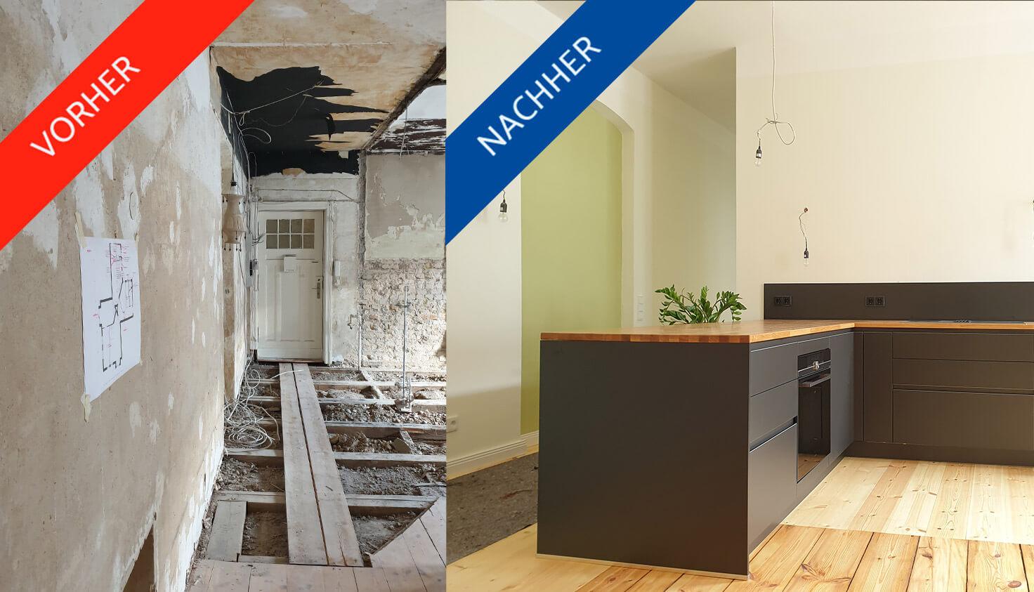 Küche vorher/nachher Bild ins steglitzer Altbauwohnung