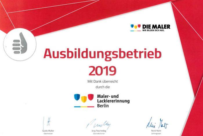 urkunde-malerbetrieb-kluge-ausbildungsbetrieb-2019