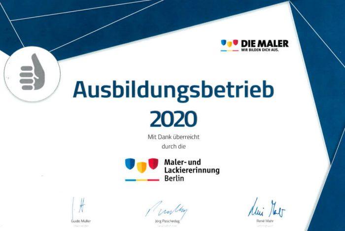 Urkunde Malerbetrieb Kluge Ausbildungsbetrieb 2020